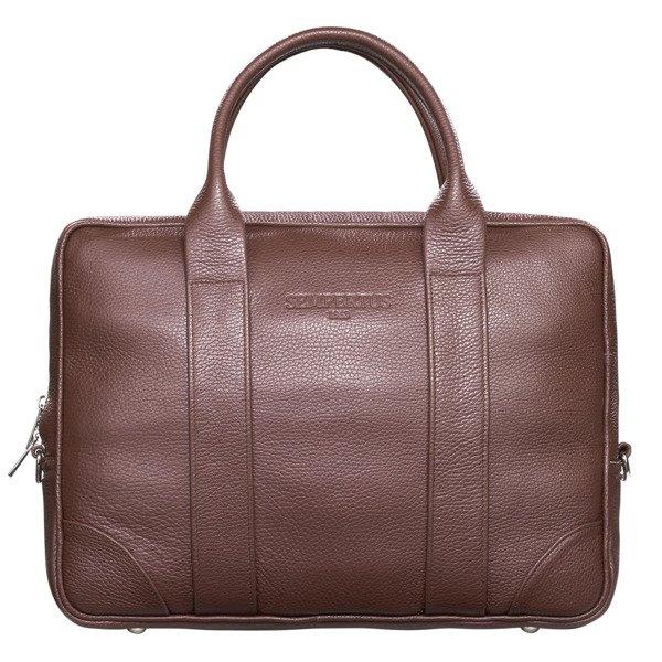 5da20a475fe34 Skórzana torba biznesowa na laptopa i dokumenty - duża Brązowy