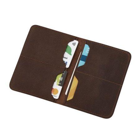Skórzany cienki portfel męski bez podszewki PM-09/CH